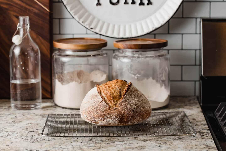 Loaf of freshly baked sourdough on a cooling rack.