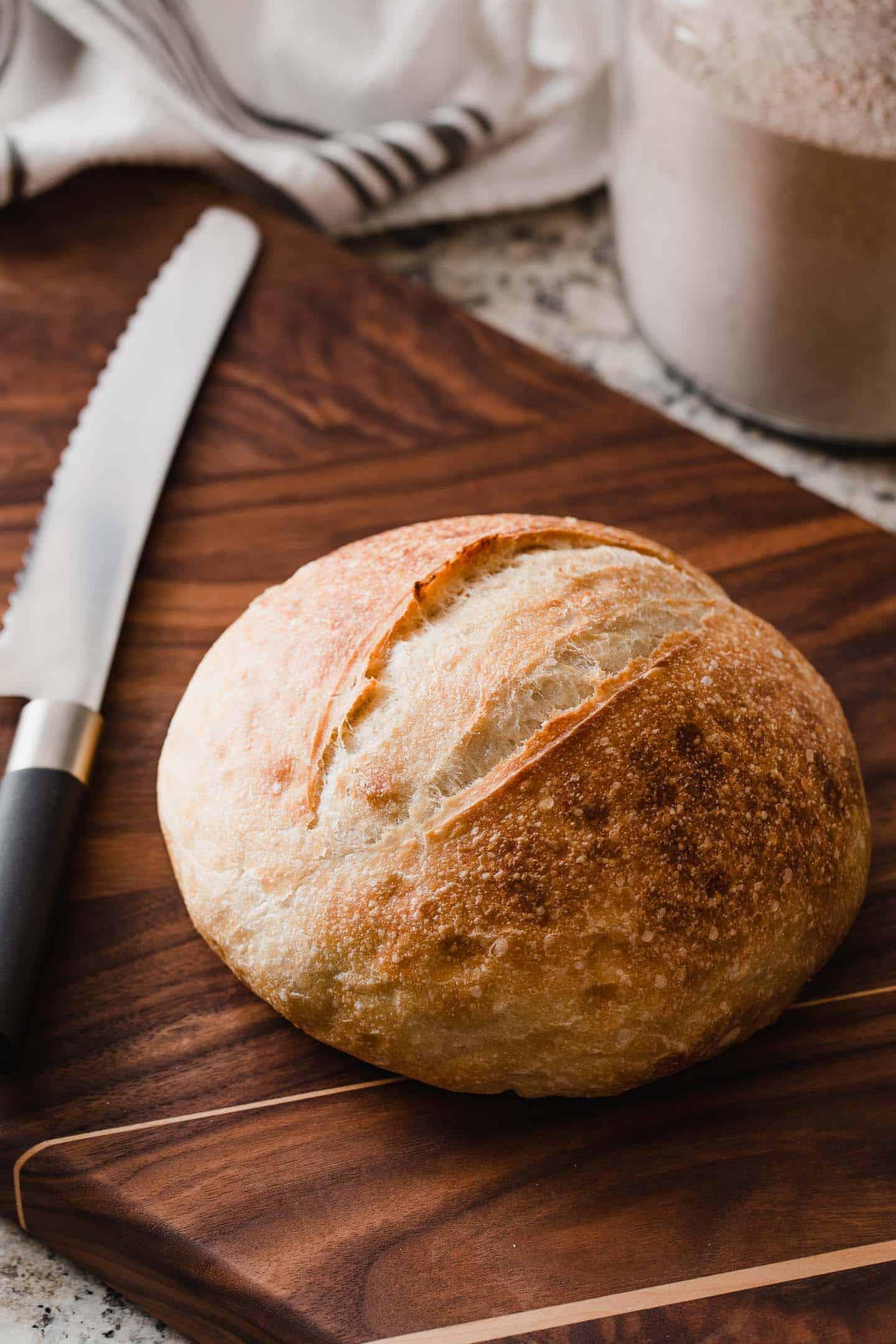 Sourdough bread on a cutting board.