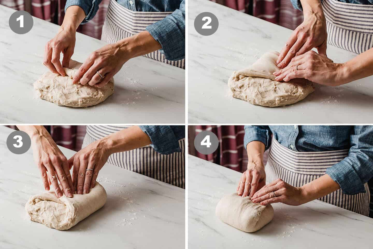 A woman performing a final shape of sourdough country loaf dough.