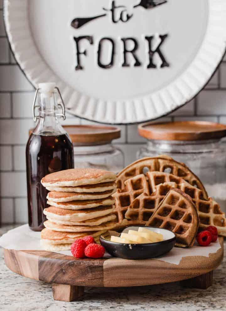 Sourdough pancakes and sourdough waffles on a tray.