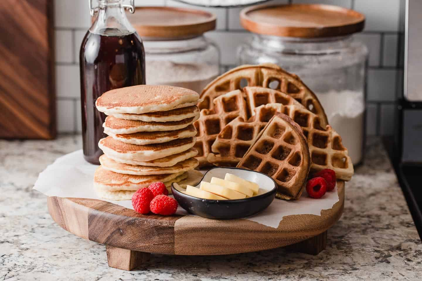 A platter of sourdough pancakes and waffles.