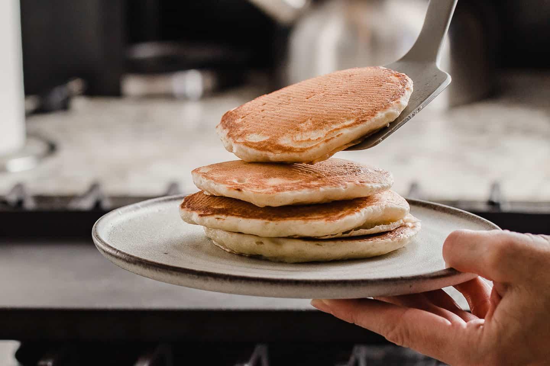 A stack of sourdough pancakes.