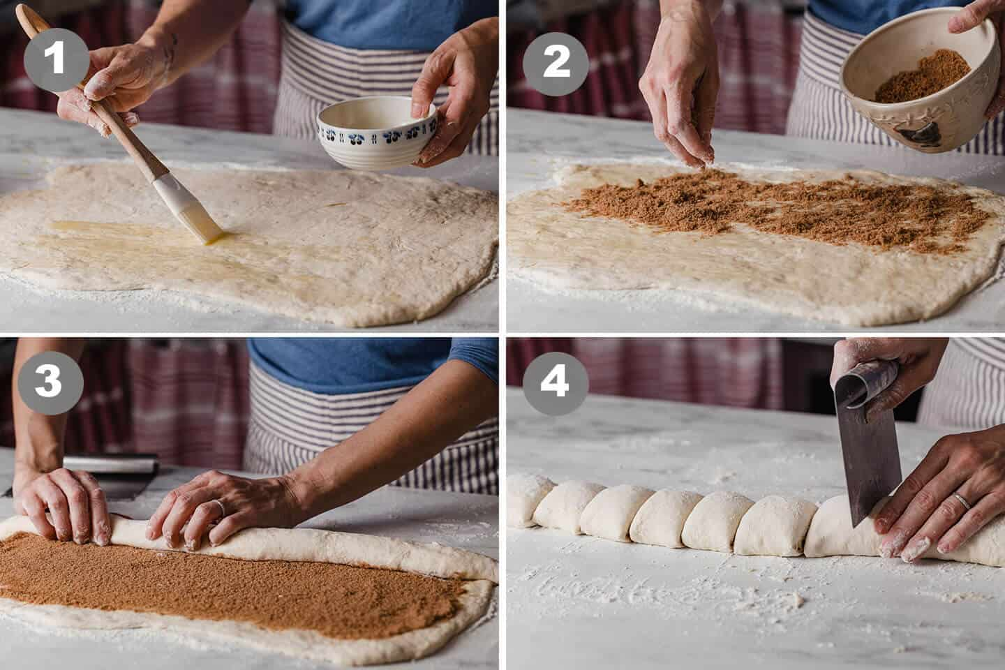 A collage of pictures showing the process of rolling and cutting cinnamon rolls.