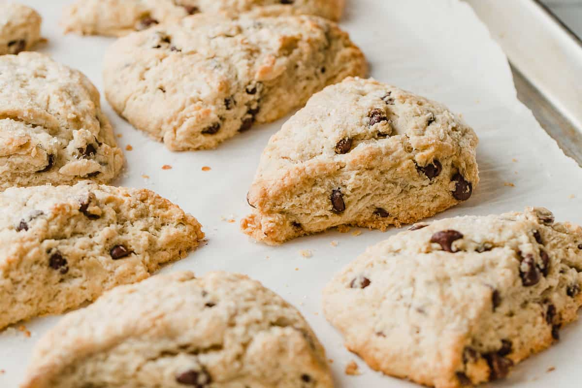 A tray of baked chocolate chip sourdough scones.