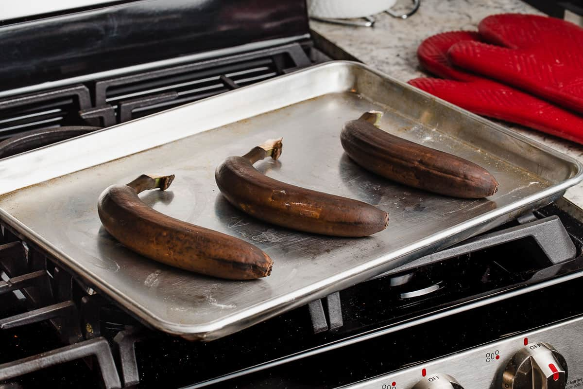 A tray of bananas that have been ripened in the oven.