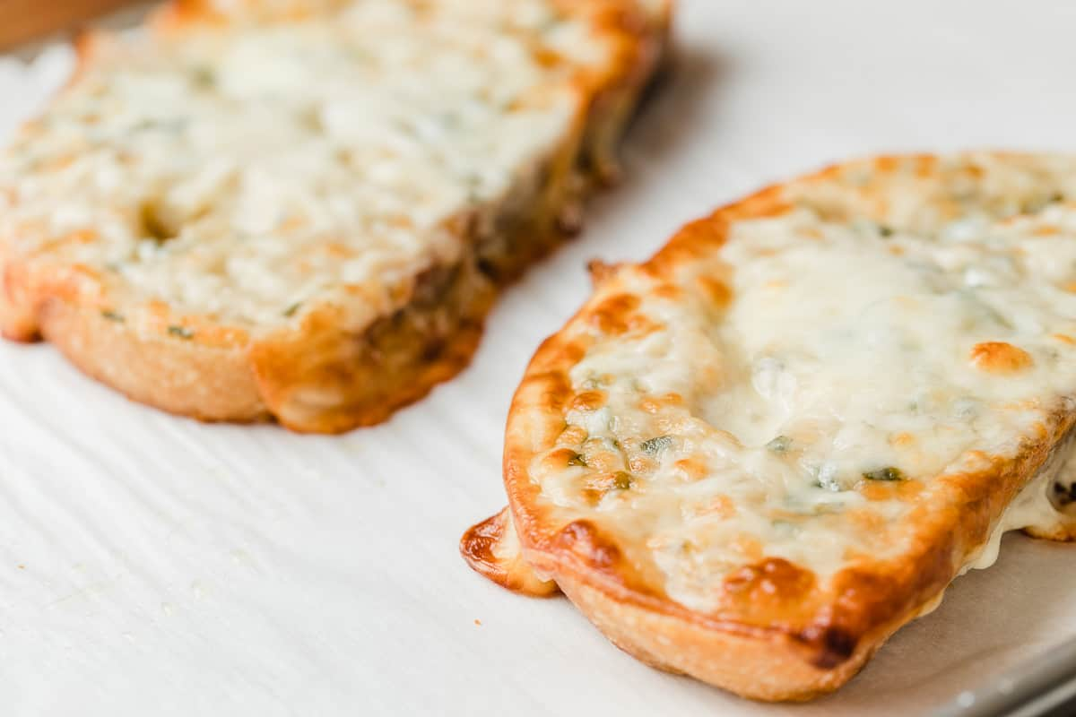 Cheesy garlic bread right out of the oven.