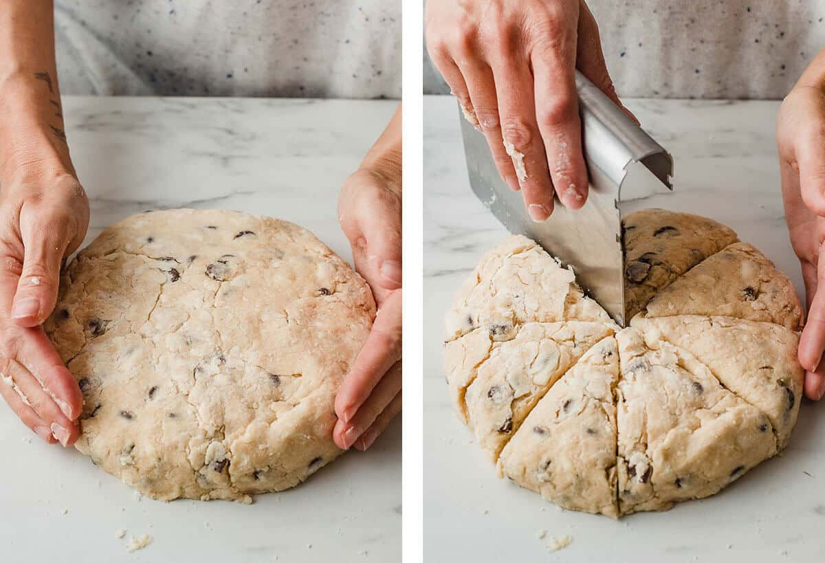 Shaping and cutting the sourdough scone dough.