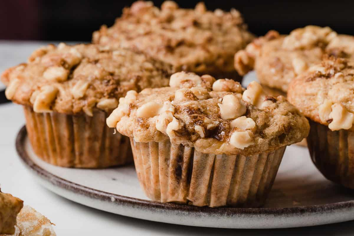 A tray of sourdough banana nut muffins.