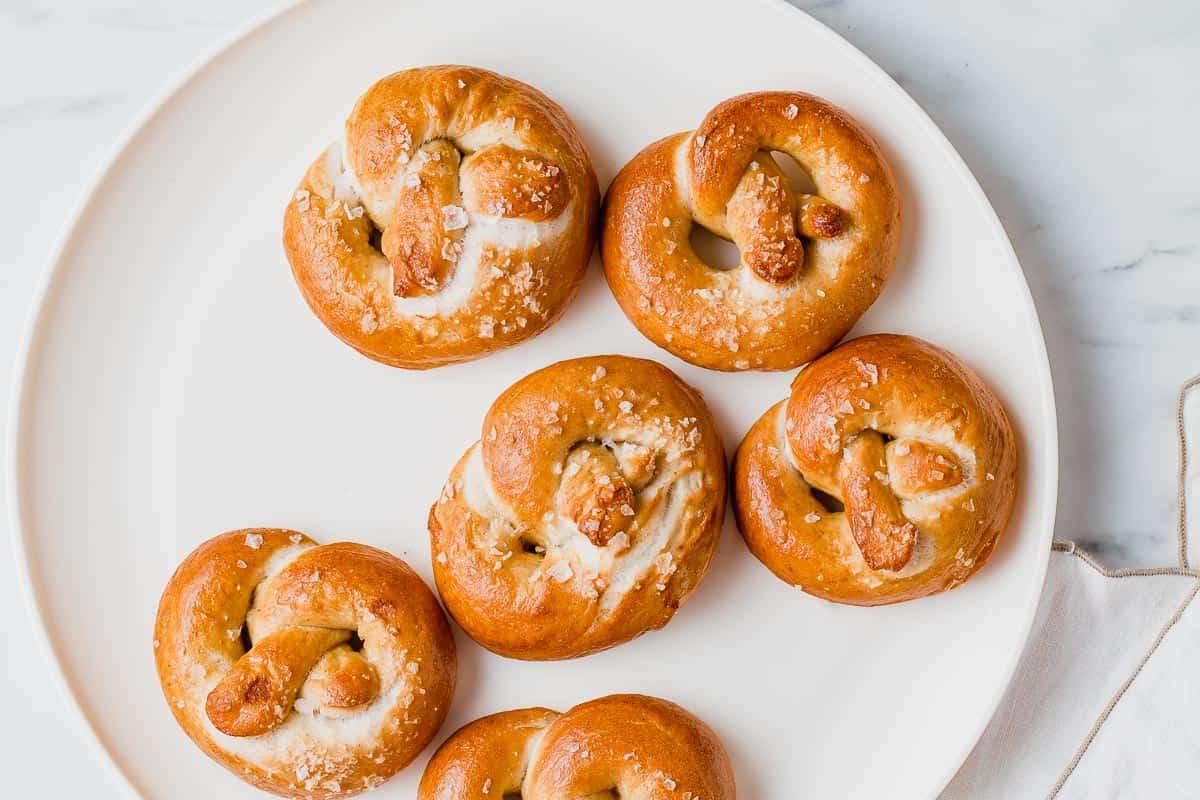 Sourdough pretzels on a plate.