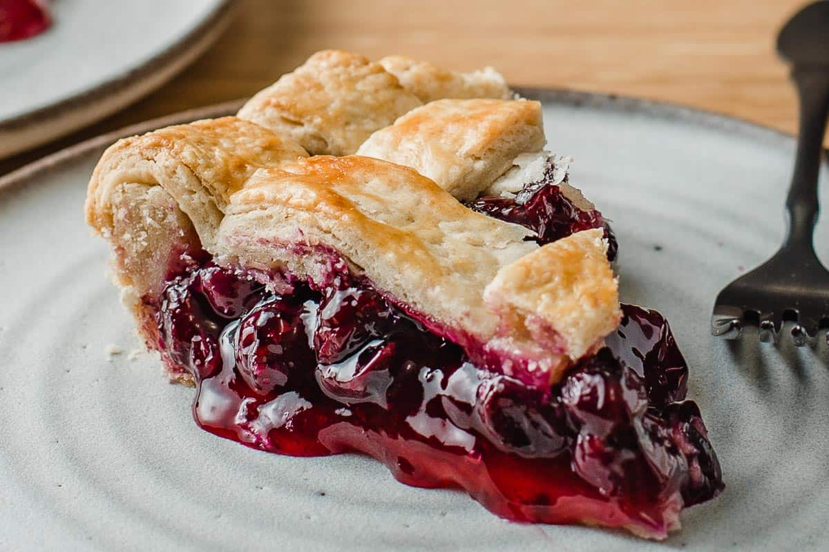 A slice of blueberry pie on a plate with a fork.