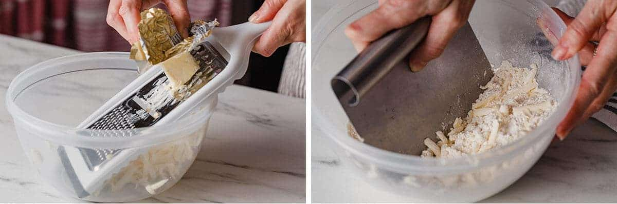 Cutting butter into flour to make a dough.