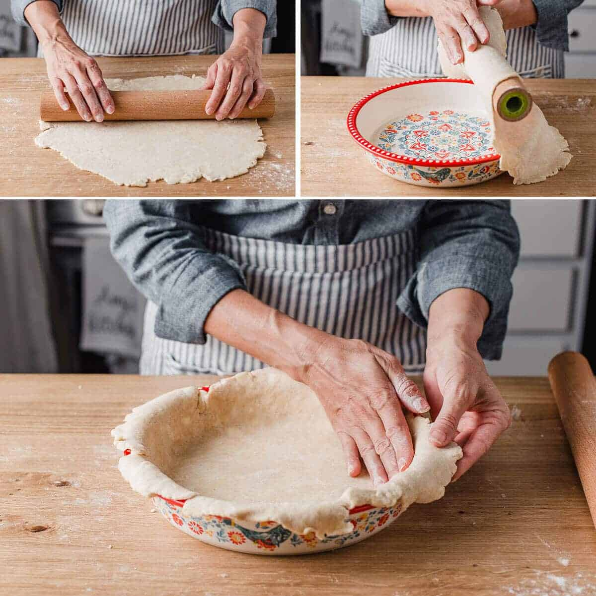 A woman rolling out the pie crust and placing it on a pie plate.