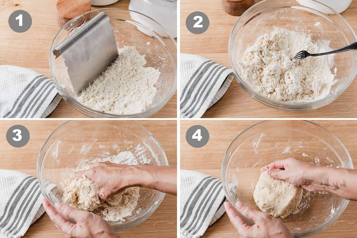 A photo collage of the first steps in making sourdough pie crust.