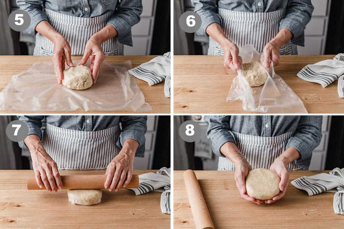 A photo collage of a woman shaping sourdough pie crust.