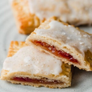 Sourdough Pop Tarts cut in half on a plate.