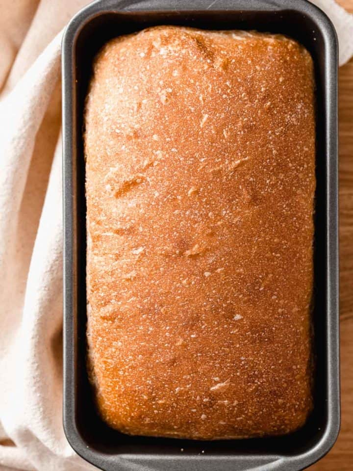 A baked loaf of bread in a loaf pan.