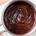 Melted chocolate and butter in a saucepan.