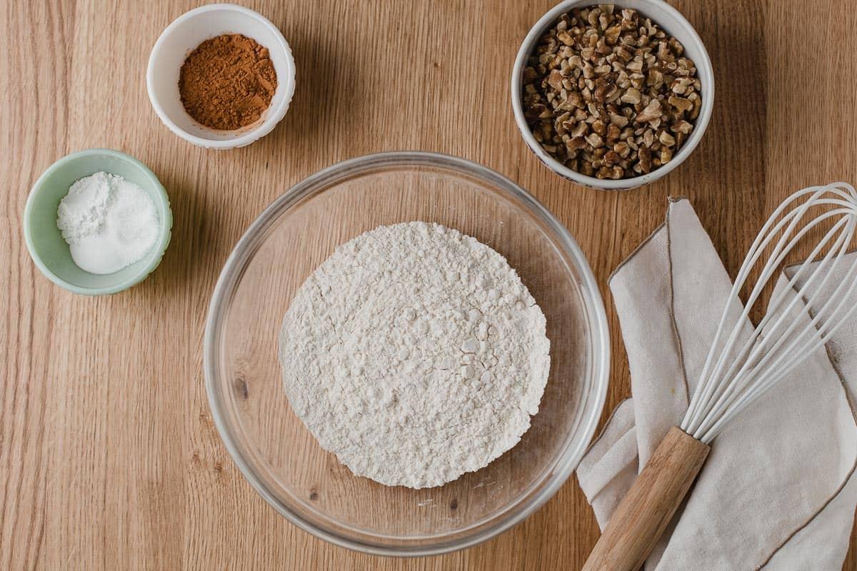 Dry ingredients in separate bowls.