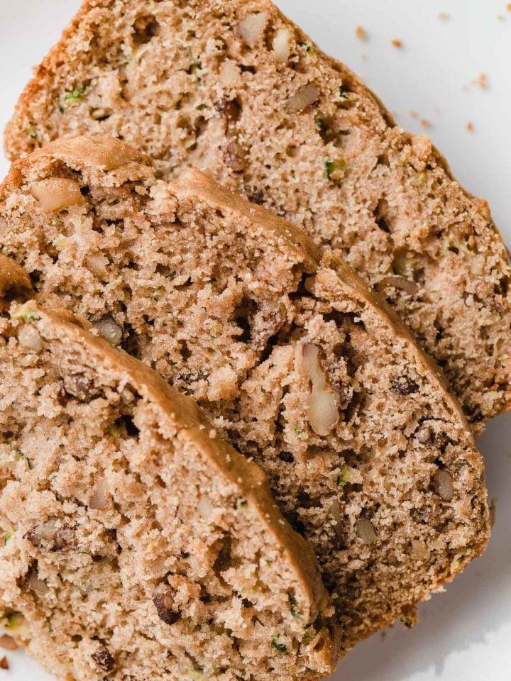 Sourdough zucchini bread on a plate.