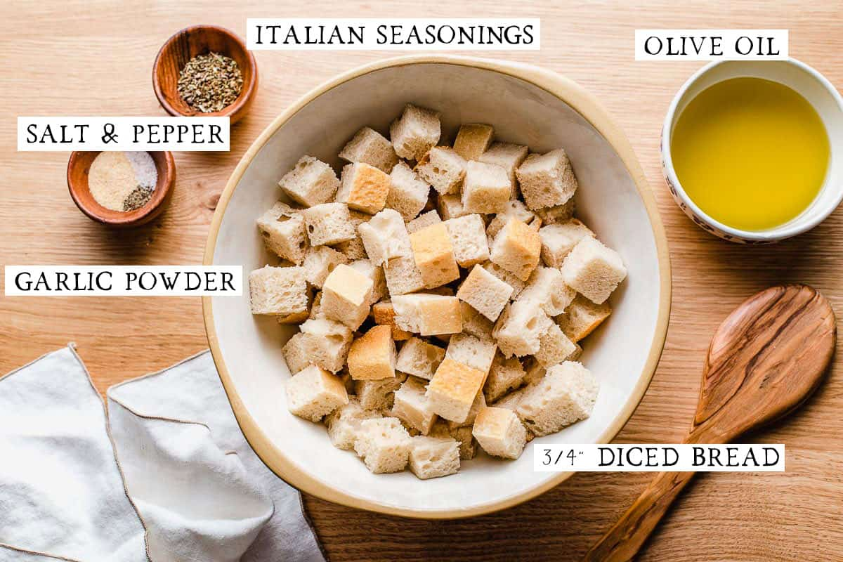 Homemade crouton ingredients on a table.