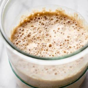 Sourdough starter in a jar.