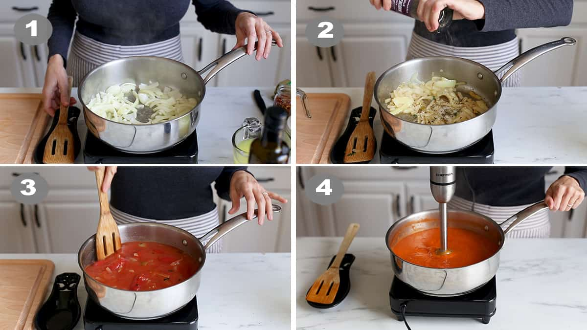 Step by step photos of a woman making soup.