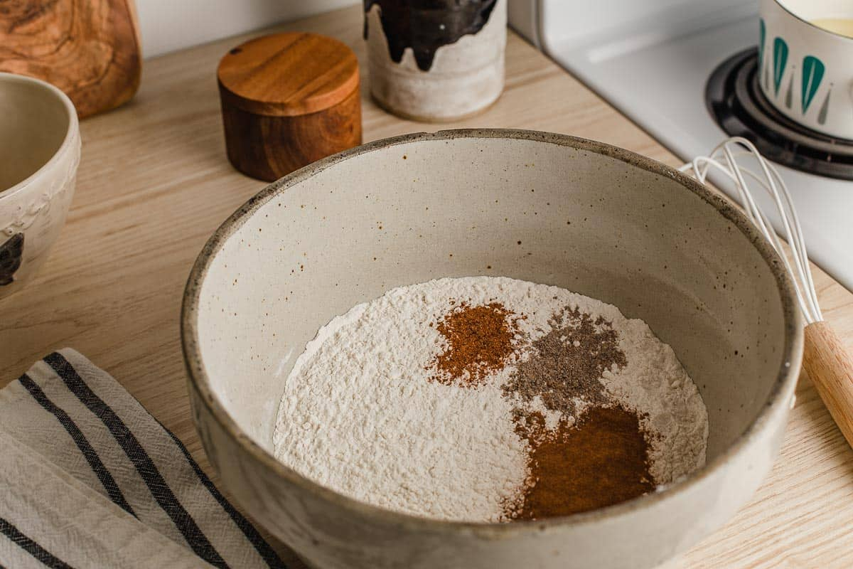 Flour and spices in a bowl on the counter.