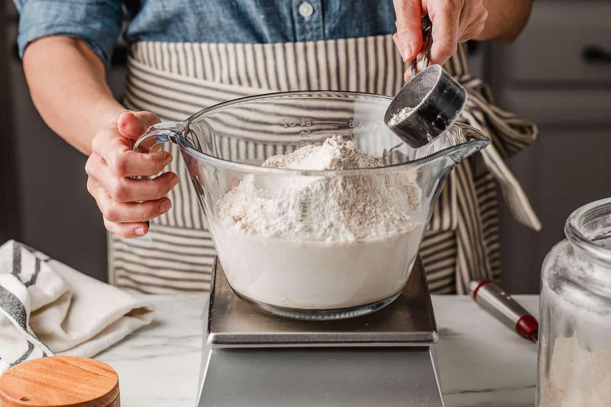 Slow cooker sourdough adding flour.