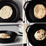 Sourdough naan cooking in a cast iron skillet.