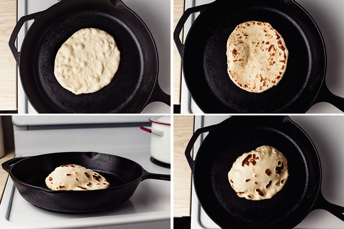 4 Stages of sourdough naan cooking in a cast iron skillet.