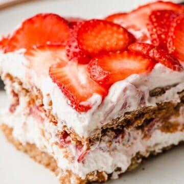 Strawberry icebox cake made with grain free graham crackers.