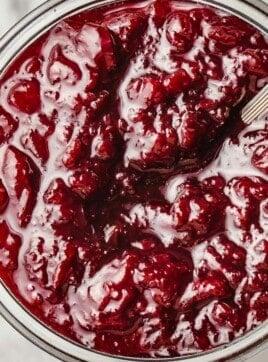 Cherry jam in a jar.