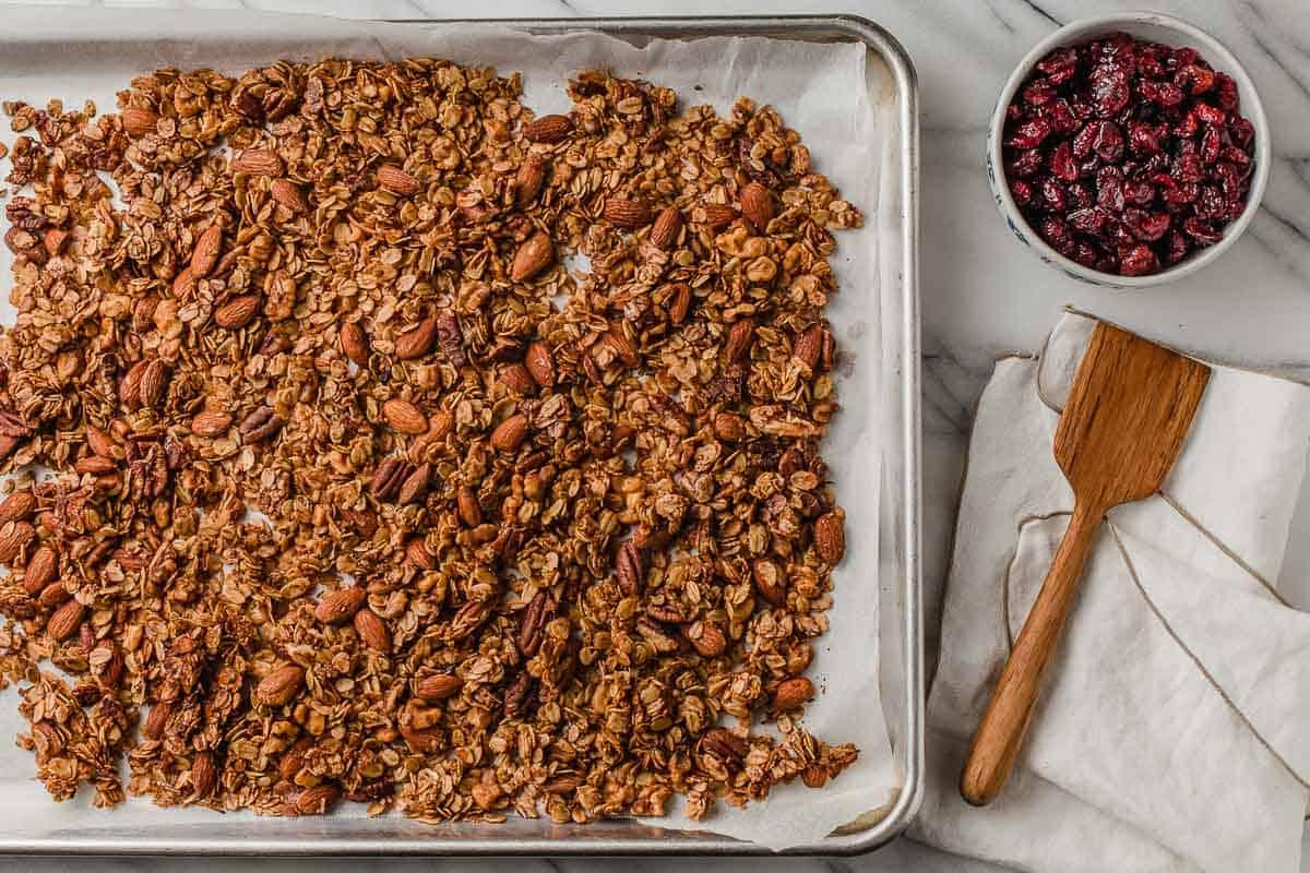 Granola on a baking sheet.