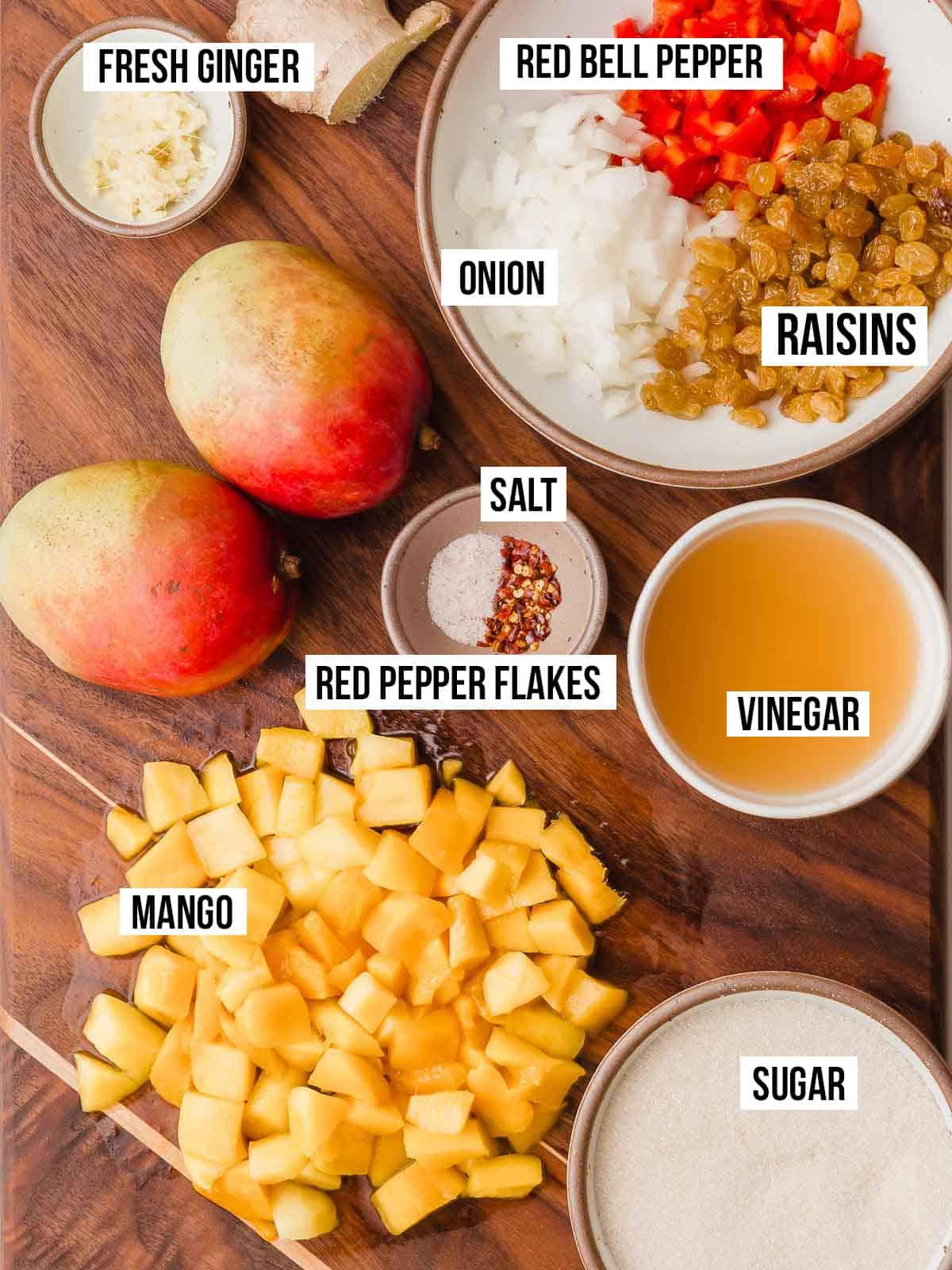 Mango Chutney ingredients on a cutting board.