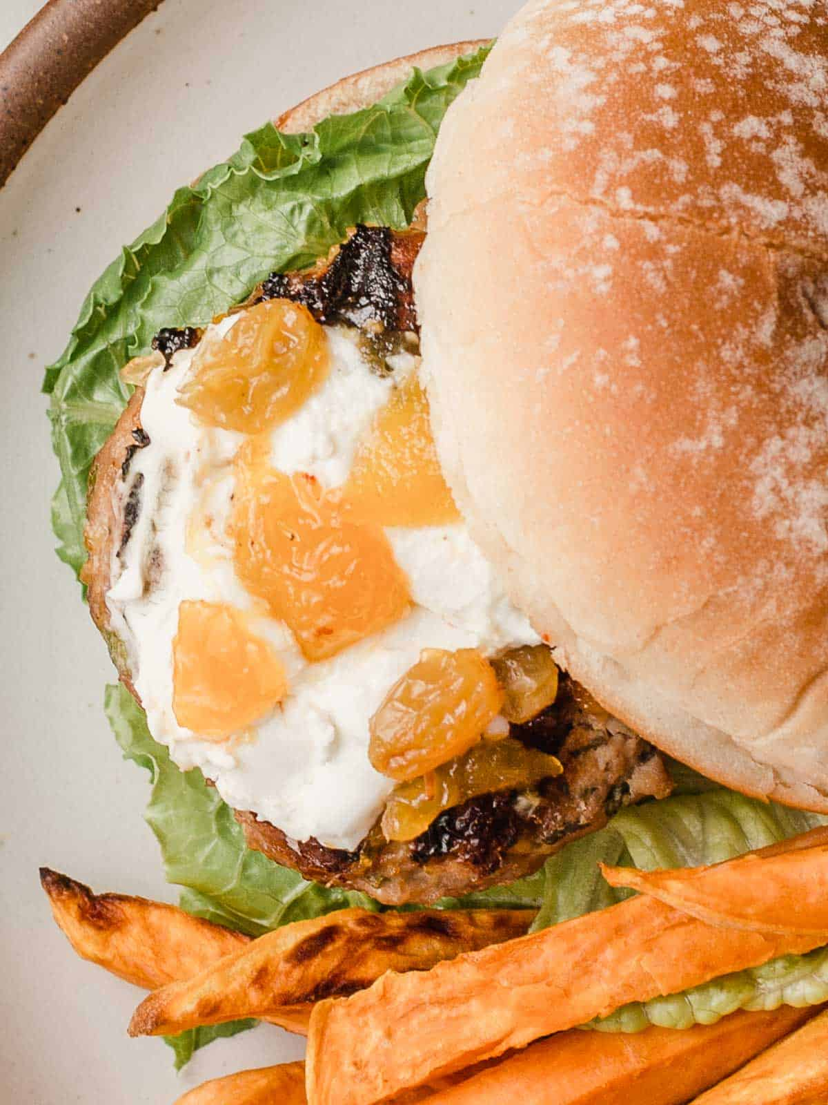 An overhead photo of a turkey burger on a plate.