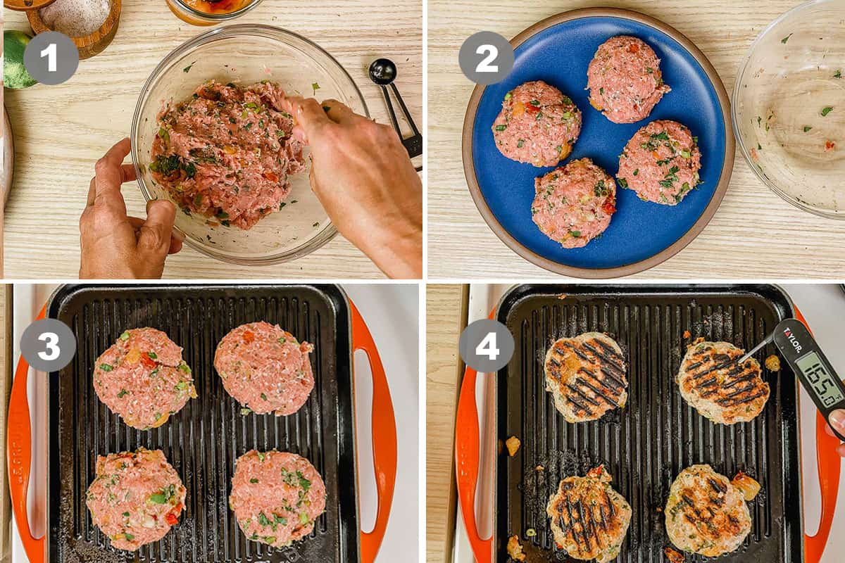 Four photos showing how to make turkey burgers.