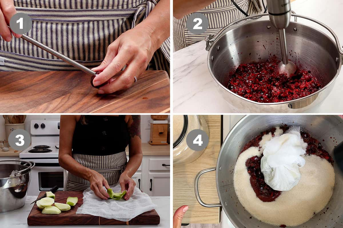 The first four steps of making the jam.