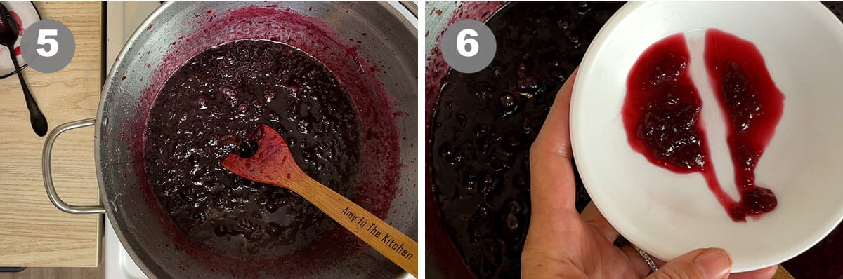 A photo showing thickened jam in the pot and checking that the jam is done.
