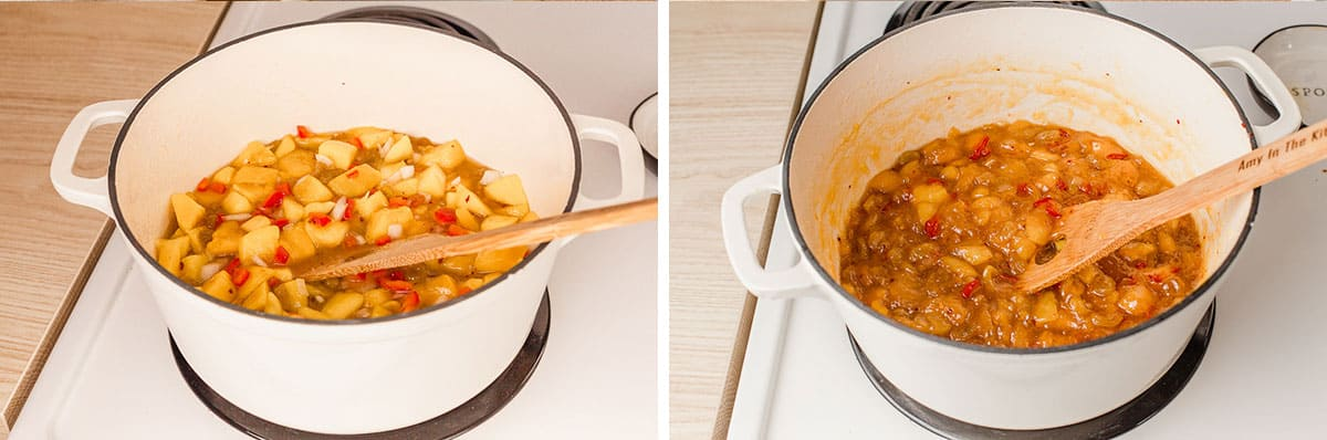 Mango chutney in a saucepan before and after cooking.