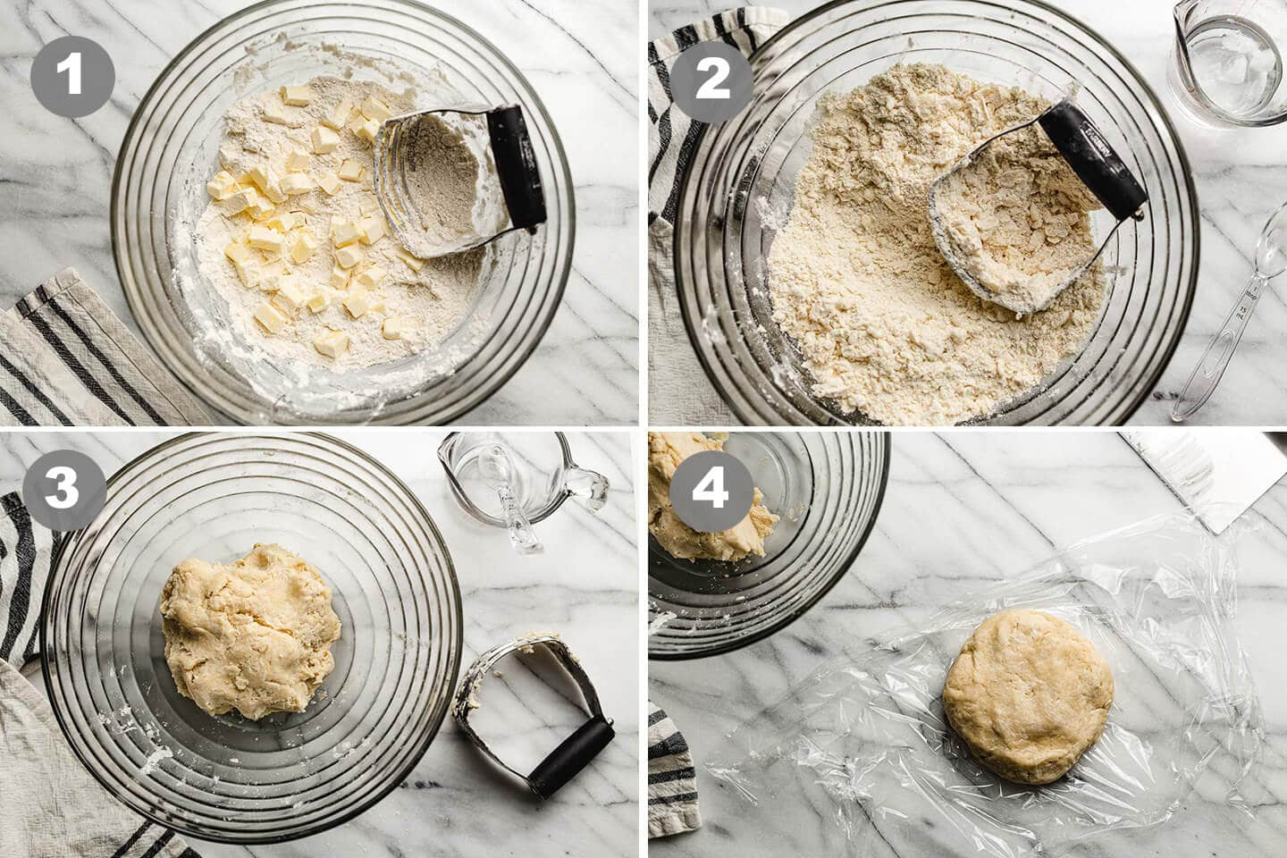Four photos showing the steps needed to make pie crust.