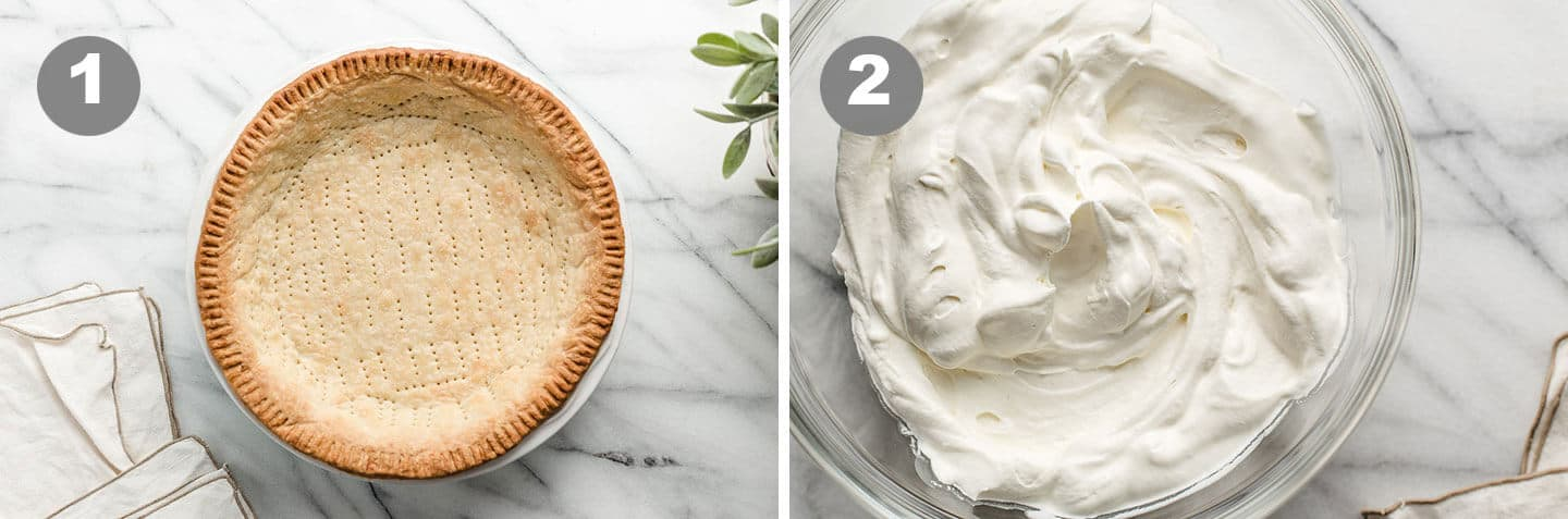 A photo of a baked pie crust and homemade whipped cream.