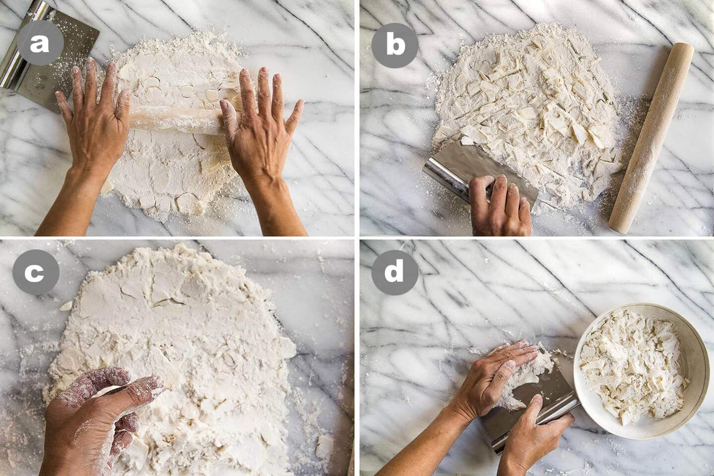 Four photos showing how to make pie crust with a rolling pin.