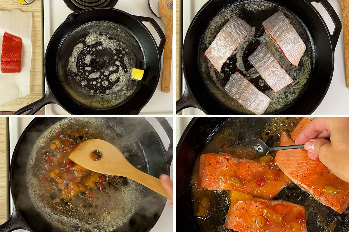 A photo collage of the steps needed to make this recipe.