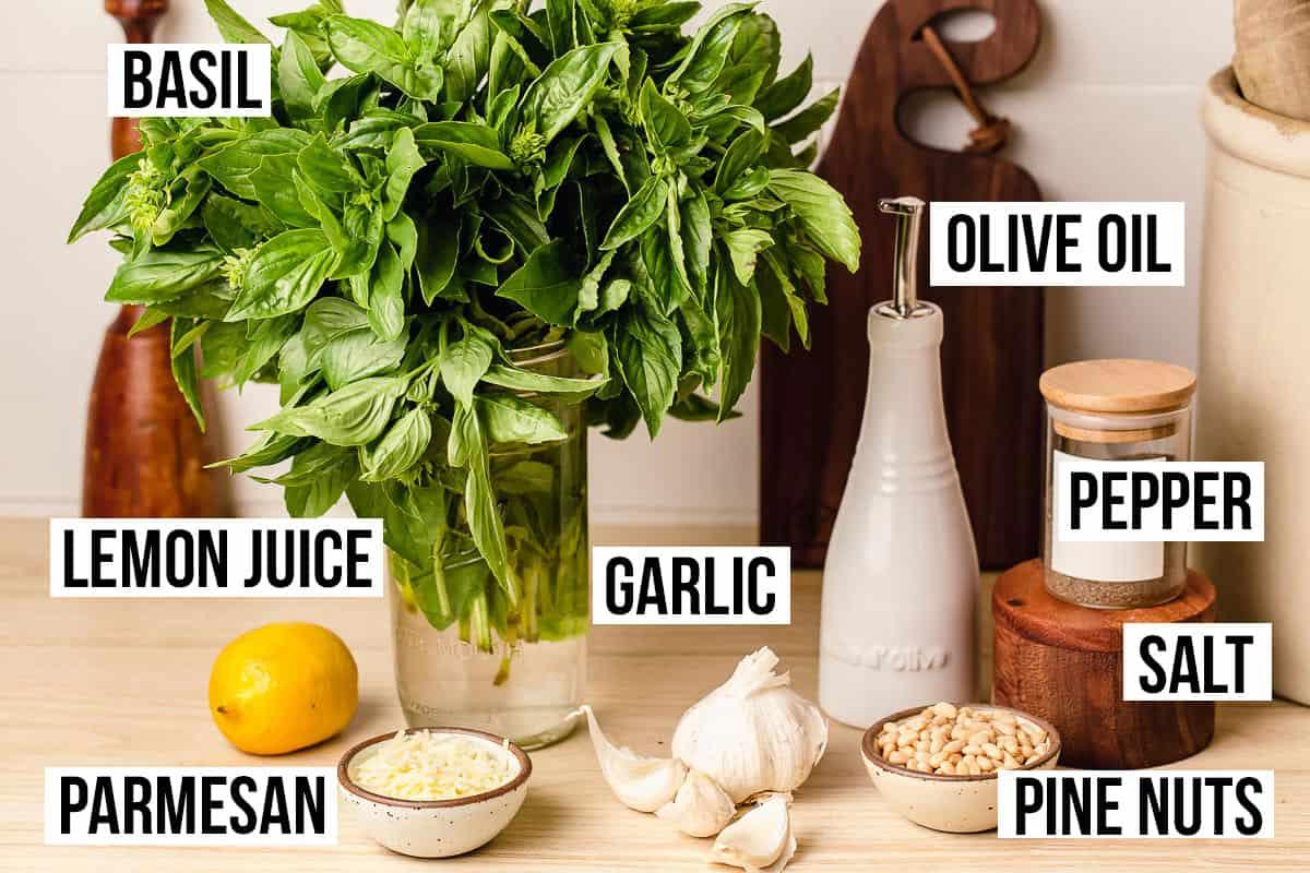 Basil pesto ingredients on a table.