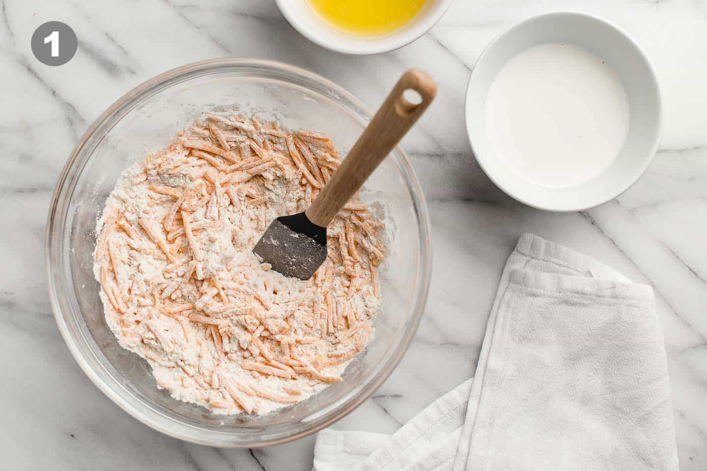 Dry ingredients mixed together in a bowl.