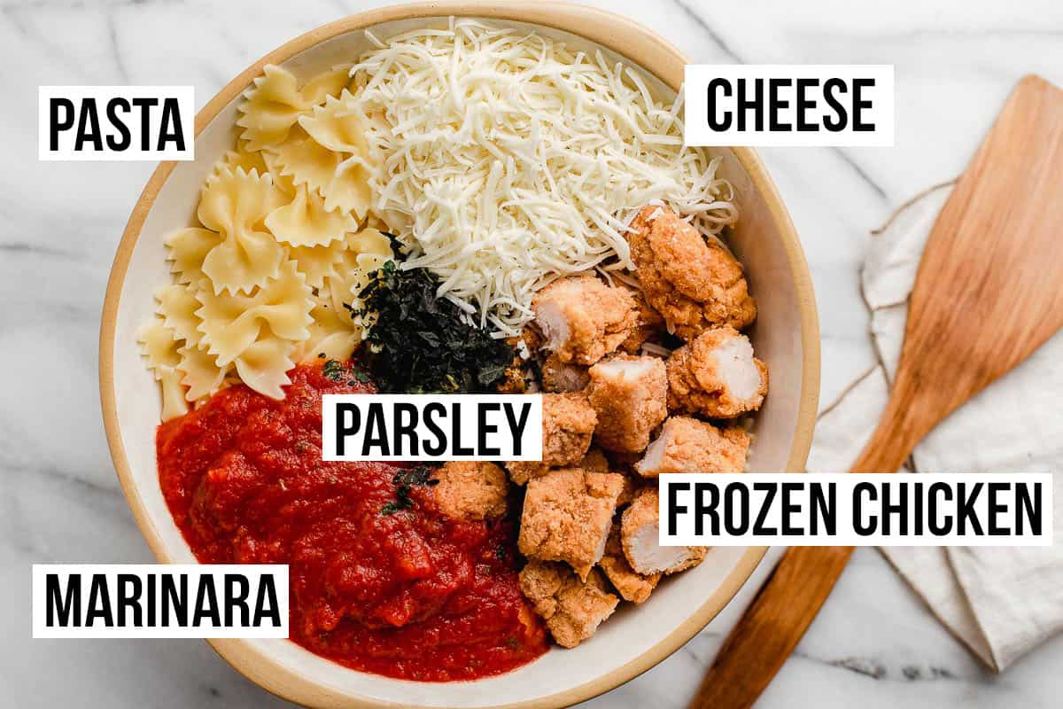 Chicken parmesan ingredients in a bowl.