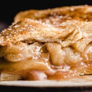 A closeup photo of a slice of apple pie.