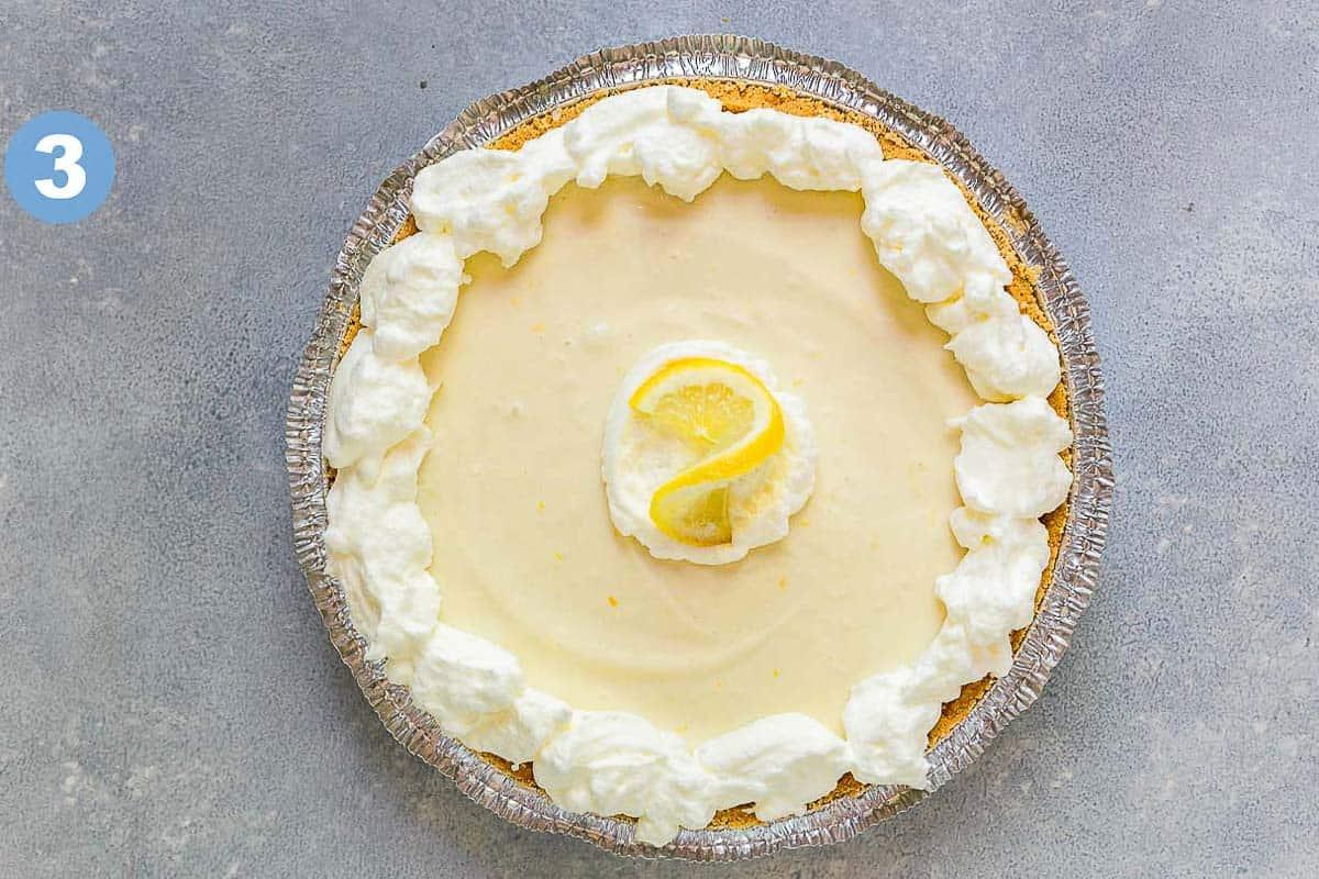 No-bake lemon icebox pie with whipped cream in graham cracker crust.