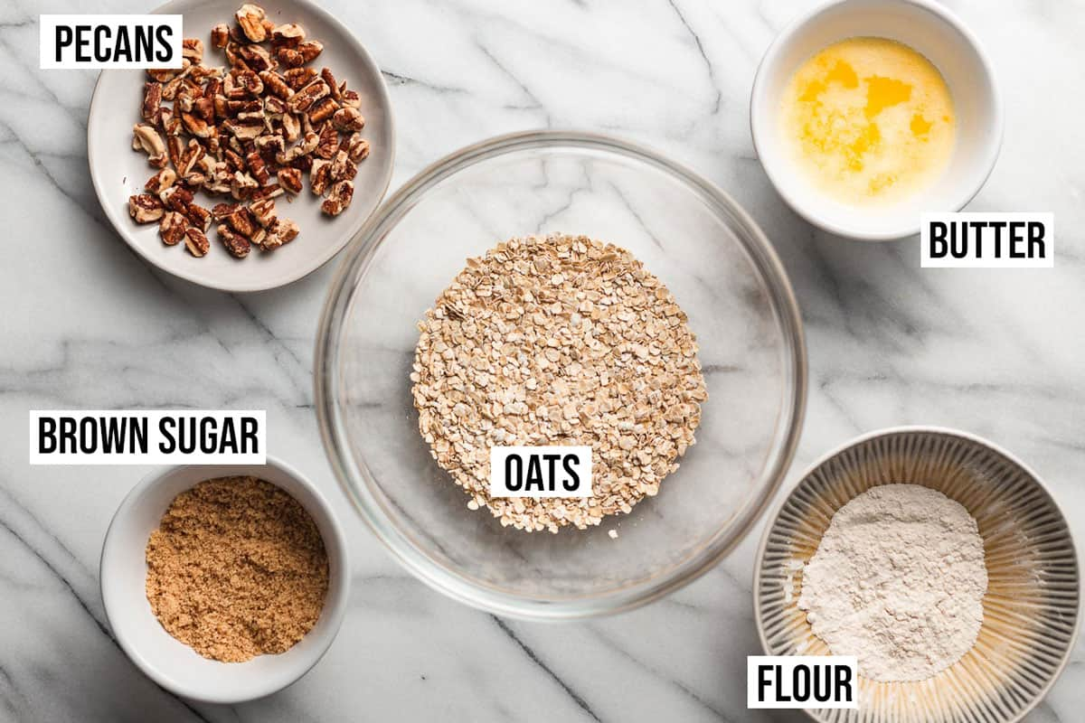 Crisp topping ingredients on a table.