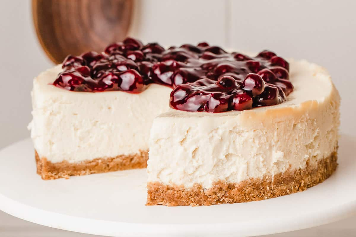 An instant pot cheesecake with a blueberry topping.